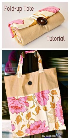 DIY Fold-Up Tote Bag Free Sewing Pattern & Tutorial Bag Sewing Pattern, Bag Patterns To Sew, Sewing Patterns Free, Free Sewing, Free Pattern, Wallet Pattern, Easy Sewing Projects, Sewing Tutorials, Sewing Tips
