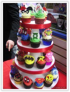 Comic book themed cupcakes