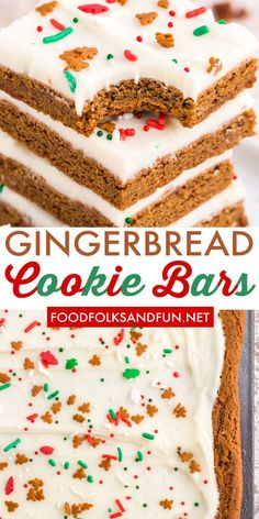 These soft and chewy Gingerbread Bars couldn't be easier to make! They are deliciously spicy with just the right amount of cream cheese frosting! Follow Food Folks and Fun for more easy Christmas recipes! Holiday Baking, Christmas Baking, Christmas Treats, Holiday Treats, Christmas Recipes, Holiday Recipes, Christmas Foods, Winter Recipes, Holiday Desserts