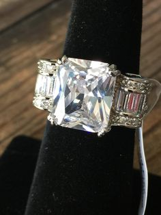 Vintage Style 5CT Emerald Cut Russian Lab Diamond Baguette Accents Ribbon Ring