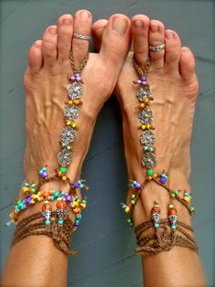 RAINBOW Flower BAREFOOT SANDALS brown colorful Barefoot Shoes Crochet Foot jewelry gypsy hippie slave anklet Beach Wedding. $66.00, via Etsy.