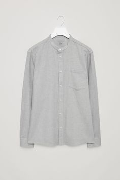 COS image 2 of Grandad collared flannel shirt in Light Grey