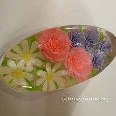 Gelatin Art Dessert Flowers drawn in clear jello