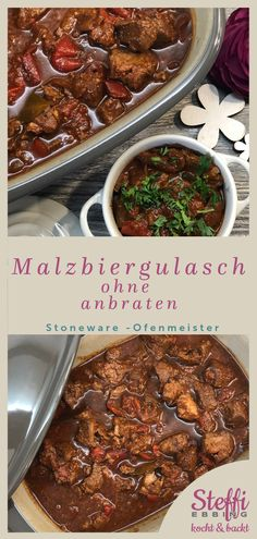 Malzbiergulasch aus dem Ofenmeister von Pampered Chef® Goulash without searing with extra taste. It becomes particularly juicy and delicious. Prepared with malt beer in the oven master from Pampered Chef. An addictive dish. Have fun copying. Clean Eating Recipes, Lunch Recipes, Meat Recipes, Dinner Recipes, Cooking Recipes, Chef Recipes, Thanksgiving Recipes, Fall Recipes, Malt Beer