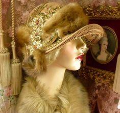 1920'S VINTAGE STYLE LT BROWN VINTAGE MINK FUR BEADED SEQUIN CLOCHE FLAPPER HAT #PatriciaJosephineAntiqueStyleDesign #Cloche