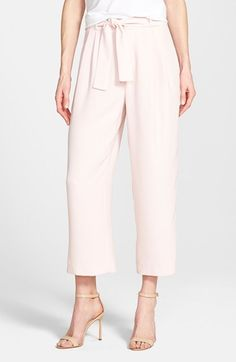 Vince Camuto Belted Pleat Front Crop Pants (Regular & Petite) available at #Nordstrom
