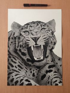 Realistic Portrait of a Leopard Meticulously Drawn - with Minuscule-Sized Dots - Using only a Rotring by Xavier Casalta l #drawing