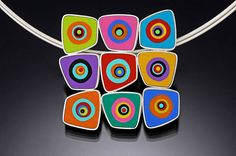 Necklace - polymer and sterling silver - by Susan Dyer.