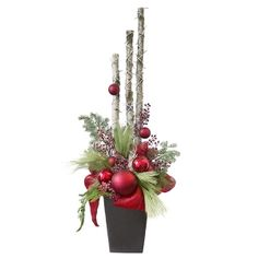 Complete your Christmas decorations with artificial floral arrangements created with holiday themes that are specially customized to your space & taste. Christmas Window Boxes, Christmas Urns, Christmas Planters, Christmas Flower Arrangements, Christmas Centerpieces, Pinterest Deco Noel, Homemade Christmas Crafts, Winter Planter, Outside Christmas Decorations