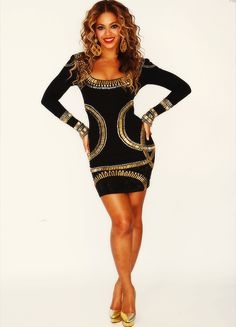 Beyonce looking fierce in this LBD embellished with gold and silver sequins.  Shop #DMLooks at DivaMall.tv