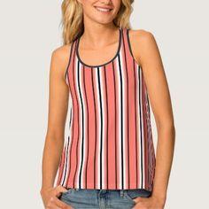 #stripes - #Mid-Century Modern Stripes Coral Black & White Tank Top