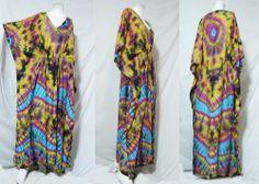 vtg HIPPIE BOHO thai handmade full rainbow tie dye kimono kaftan maxi dress 761 #Unbranded #Maxi #Casual