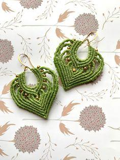 Artisan Jewelry, Handmade Jewelry, Handmade Gifts, Macrame Earrings, Crochet Earrings, Elephant Ears, Micro Macrame, Etsy Crafts, Festival Fashion