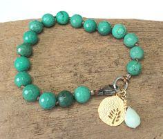 Knotted Beaded Bracelet Semi Precious Green by LoveandLulu