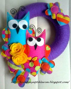 felt owls door wreath