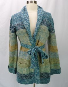 Vintage 70s Space-Dyed Acrylic Open-Front Belted Cardigan Sweater M/L #Unbranded