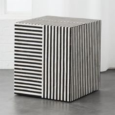 Shop Taylor Bone Inlay Side Table.   Black horn and white bone stripe a sophisticated pattern of slim lines laid entirely by hand.  Chic cube table adds graphic interest between seats or beside sofa.
