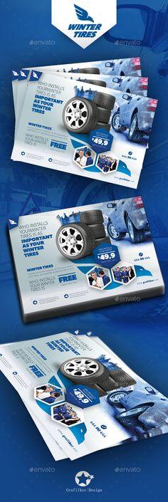 Automobile Tire Flyer Templates  — PSD Template #car • Download ➝ https://graphicriver.net/item/automobile-tire-flyer-templates/18195267?ref=pxcr