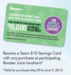 Sears Promo May 20 to June 2013 Fathers Day, Promotion, June, Coding, Personal Care, Celebrities, Cards, Celebs, Self Care