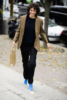 Blue boots. The Best Street Style From Paris Fashion Week Spring 2018