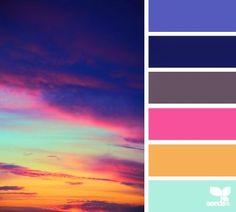 sky spectrum - color palette from Design Seeds Colour Pallette, Color Palate, Colour Schemes, Color Combos, Color Patterns, Sunset Color Palette, Bright Color Palettes, Jewel Tone Colors, Design Seeds
