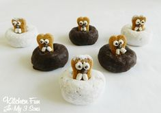 Groundhog Day is coming up and we love making fun Groundhog treats! We made these Groundhog Mini Donuts the other day and we love how cute they turned out! These are very easy to make and would be perfect for the kids to bring to for their class at school! Groundhog Day Donuts  Mini …