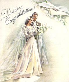 Vintage Wedding Greeting Card wedding dresses Wedding Dress Bride 2 Piece, Lace and Silk Wedding Dress. Vintage Wedding Cards, Vintage Greeting Cards, Vintage Bridal, Vintage Postcards, 1940s Wedding, Wedding Greetings, Wedding Congratulations, Vintage Groom, Wedding Illustration