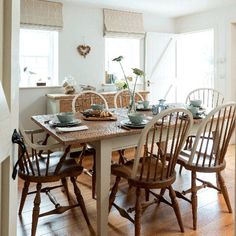 Dining area with large wooden table