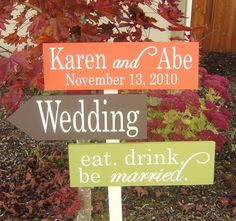 Items similar to Personalized, Unique Wedding Directional Signs with Arrows. Made to Order for your Fall, Autumn or Thanksgiving Wedding. on Etsy Thanksgiving Wedding, Fall Wedding, Our Wedding, Dream Wedding, Wedding Puns, Wedding Stuff, Rustic Wedding Signs, Wedding Signage, Wedding Reception