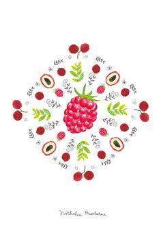 Illustrated-poster-kitchen-art-raspberry-lytchee