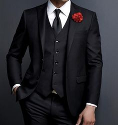 2019 New Design Custom Made Slim Fit 3 Piece Single Breasted Tuxedo suit Black Wedding Suits For Men Slim Fit Formal Party Groom Tuxedo Prom Blazer 3 Pieces Costume Homme Marriage Suit Ternos Masculino. designers casual suit for men. Prom Tuxedo, Tuxedo Suit, Tuxedo For Men, Slim Fit Tuxedo, Slim Suit, Black Suit Wedding, Wedding Coat, Wedding Dress, Man Suit Wedding