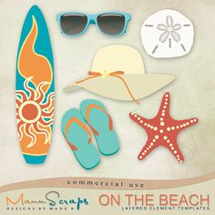 CU On The Beach by ManuScraps: A set of 6 layered element templates for all your beach / summer / vacation kits!  Contains: 1 summer hat 1 pair of sunglasses / shades 1 pair of flipflops 1 sand dollar 1 starfish / sea star 1 surf board #DigitalScrapbookingStudio #digiscrap #ManuScraps