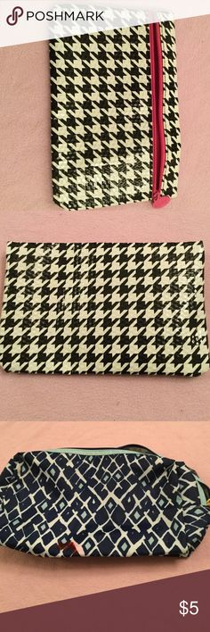 3 makeup bag for 5 dollars Big blue bag has a small red ink stain. Black and white new IPSY bag. Pink with grey has small stains ipsy Bags Mini Bags