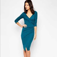 Wrap Front Midi Dress Wrap front, 3/4 sleeve ponte midi dress with flattering waist-ruching detail. NWOT/ Never Worn. Easily transitions from office to happy hour!  ASOS Dresses