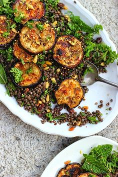 Za'atar Grilled Eggplant and Herby Lentil Salad - Grilled Eggplant with Za'atar + Herby Lentil Salad - Happy Hearted Kitchen Veggie Recipes, Whole Food Recipes, Vegetarian Recipes, Cooking Recipes, Healthy Recipes, Healthy Tips, Lentil Salad Recipes, Dishes Recipes, Clean Eating