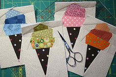 Ice cream cone paper piecing tutorial by Annie of Annie's Musings.