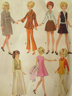 barbie+sewing+patterns | Sewing Pattern, Fashion Doll Wardrobe, 1960s Barbie Clothes Pattern ...