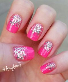 My newest mani I've done on myself Easy Nail Polish Designs, Simple Nail Art Designs, Nail Designs, Pretty Nail Art, Cute Nail Art, Easy Nail Art, Get Nails, Pink Nails, How To Do Nails