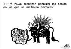 Afbeelding van de website van de Spaanse dierenpartij PACMA. CAS International heeft bij verschillende acties samengewerkt met PACMA. Boven de afbeelding staat: 'PP (Christendemocratische politieke partij) en PSOE (socialistische politieke partij) weigeren mishandeling van dieren bij fiestas te bestraffen', de stier voegt hieraan toe: 'en ze zijn alleen in staat om het met elkaar eens te worden over ons leed'. Afbeelding © forges.com