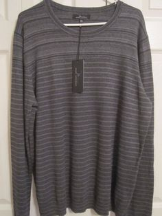 Marc Anthony Men's dark grey stripe pullover sweater XXL NWT #MarcAnthony #Pullover