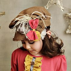 Persnickety Pink Lace & Pinecones Newsboy Hat - Brown Plaid