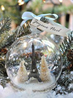 Joyeux Noel - Eiffel Tower Snow Globe Ornament