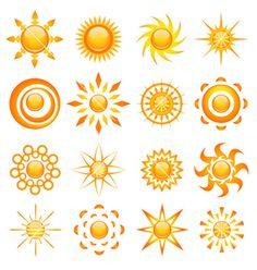 Sun icons vector image on VectorStock Sun Doodles, Sunshine Logo, Pictures Of The Sun, Mujeres Tattoo, Seashell Tattoos, Tribal Sun, Sun Illustration, Sun Logo, Sun Designs
