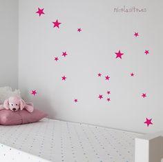 Vinilos de estrellitas fucsia. Fuschia star wall stickers. Decokids