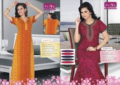 nighty for women 100% cotton wear double stitched colour fastness comfortable & good looking