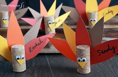 @susiehamlin Save your wine corks and make turkey place card holders for Thanksgiving! A template, paper, corks and glue make this a fun craft for you or the kids.