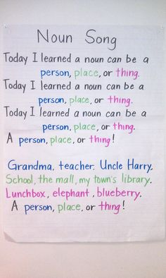 noun song, sung to the tune of the Battle Hymn of the Republic Grammar Activities, Teaching Grammar, Teaching Writing, Teaching Tools, Teaching Ideas, Writing Worksheets, Educational Activities, Teaching Resources, Kindergarten Language Arts