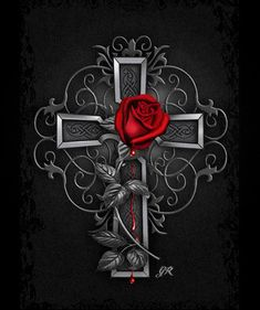 Nice Gothic Rose Artwork – GOTHIC PINK Best Picture For Coloring Pages hair For Your Taste You are looking for something, and it is going. Cross Wallpaper, Gothic Wallpaper, Skull Wallpaper, Love Wallpaper, Wallpaper Backgrounds, Wallpapers, Tattoo Minnie, Cross Drawing, Rose Croix