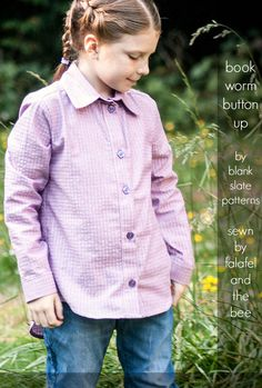 Bookworm Button Up Sewing Pattern by Blank Slate Patterns sewn by Falafel and the Bee