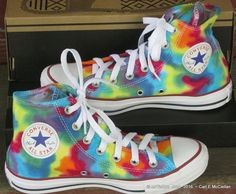 This is a pair of hand dyed Rainbow Converse Hi top sneakers. Men sz 5 / Women sz 7